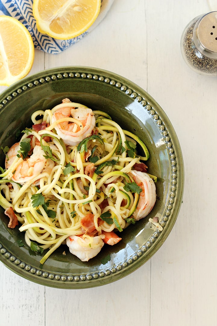 "Easy Bacon Shrimp ""Zucchini Noodle"" Scampi"