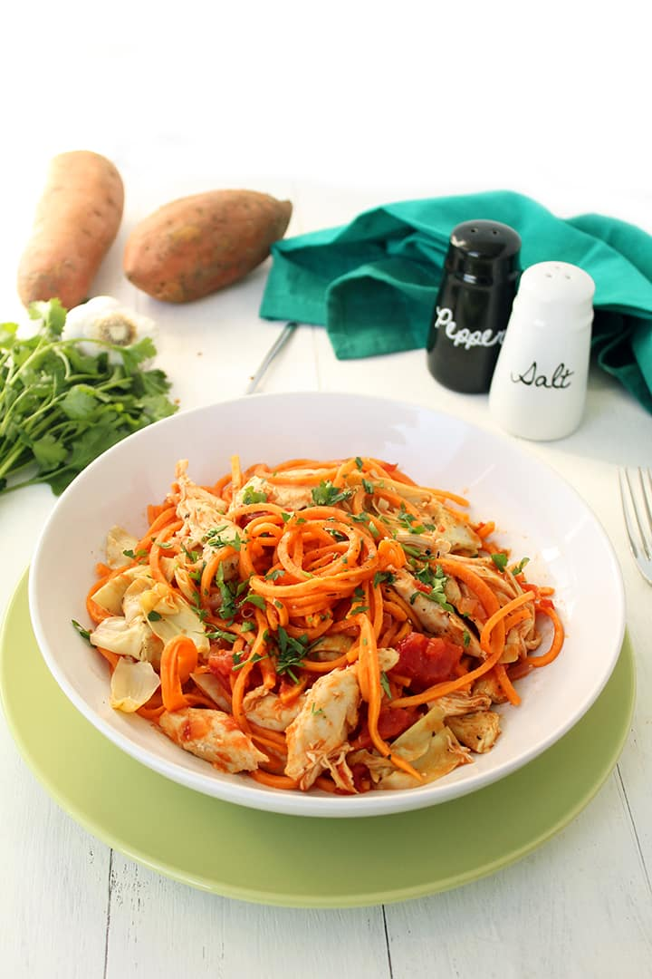 Tomato Sweet Potato Noodles with Chicken & Artichokes