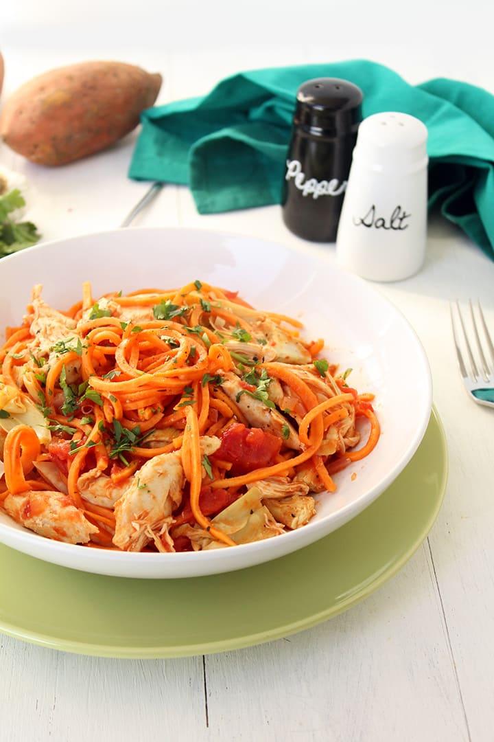 Tomato Sweet Potato Noodles with Chicken & Artichokes