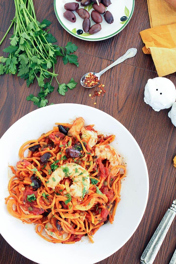 Sweet Potato Noodle Shrimp Puttanesca