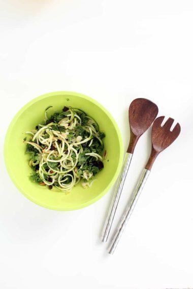 Half-Moon Shaped Spiralized Veggies & Zucchini & Kale Apple Slaw