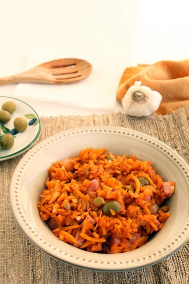 "Spanish Butternut Squash ""Rice"" with Ham"