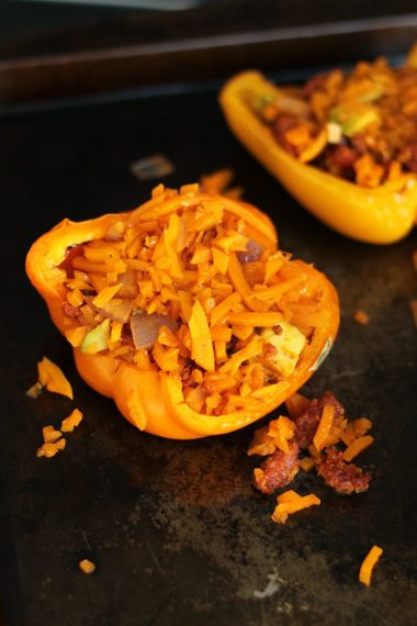 Chorizo, Avocado & Butternut Squash Rice Stuffed Peppers