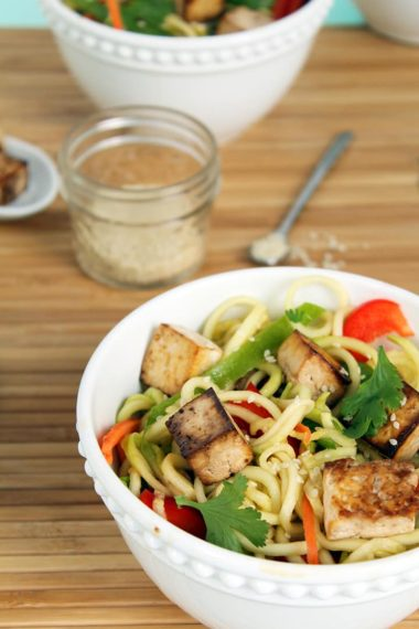 Miso-Ponzu Zucchini Noodles with Tofu & Veggies
