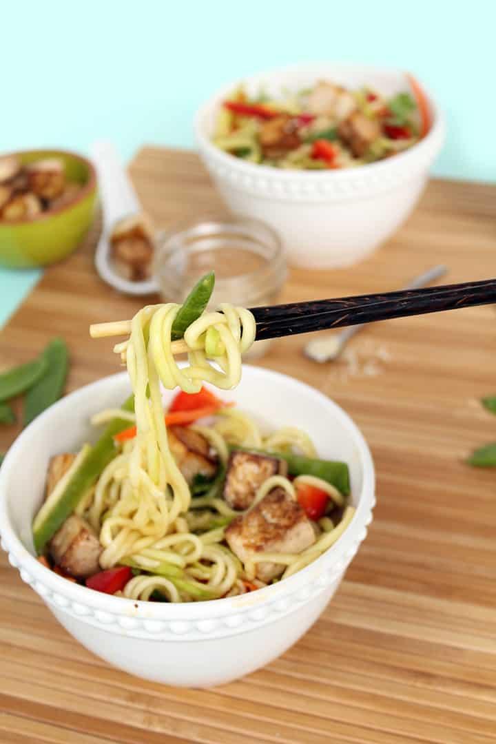 Miso-Ponzu Zucchini Noodles with Tofu & Veggies