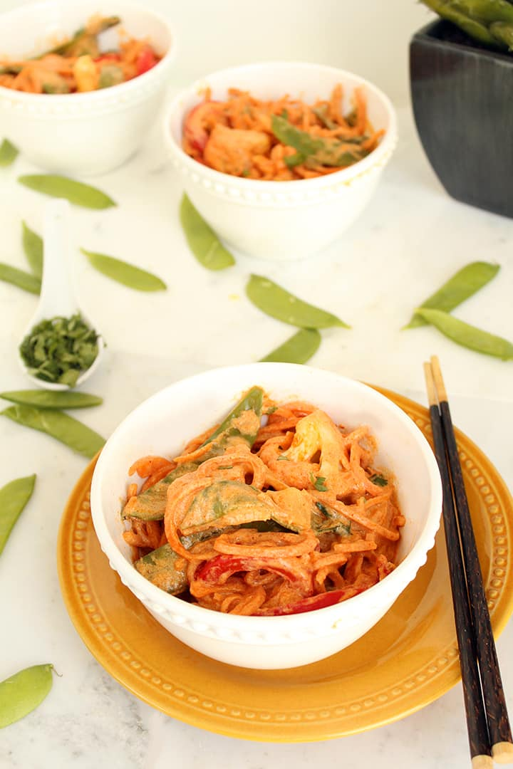 Creamy Vegetable Thai Red Coconut Curry with Sweet Potato Noodles