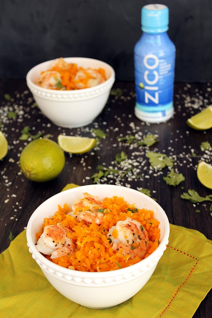 Lime Shrimp & Coconut Butternut Squash Rice with @ZICO