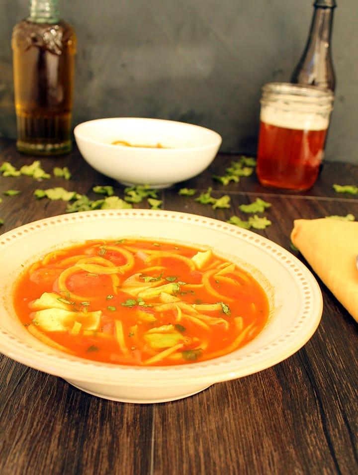 "Mexican ""Sweet Potato Fideo"" Soup with Avocado"