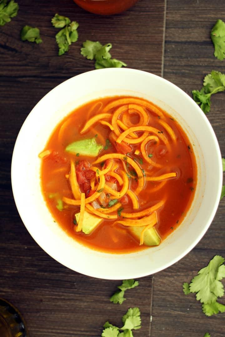 "Mexican ""Sweet Potato Fideos"" Soup with Avocado"