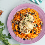 Pecorino Butternut Squash Noodles & Cauliflower Steak with Olive, Caper & Chickpea Sauce
