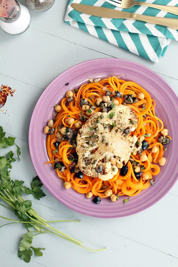 Pecorino Butternut Squash Noodles & Cauliflower Steak with Olive, Caper & Chickpea Sauce