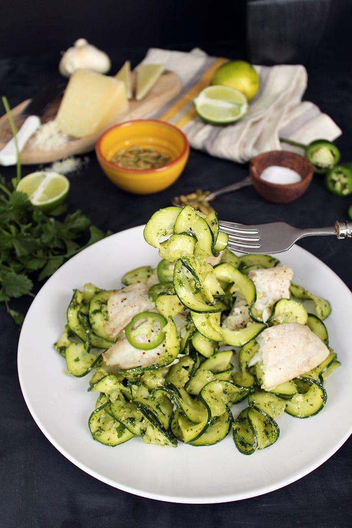 Lime-Jalapeno Tilapia with Cilantro-Manchego-Pepita Pesto Zucchini Pasta