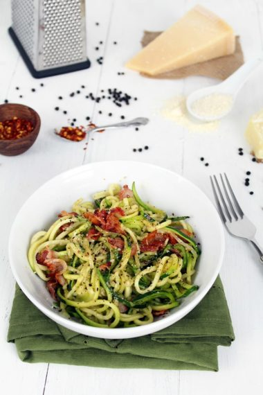 Zucchini Noodle Bacon Cacio e Pepe