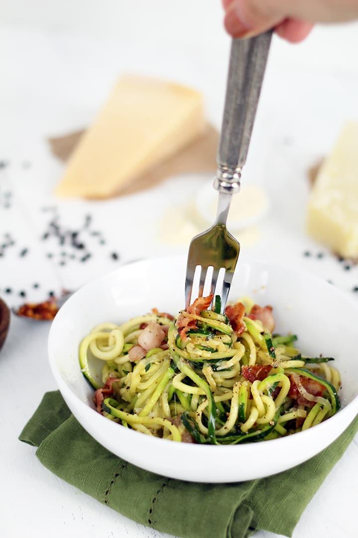 Cacio e Pepe with Bacon (Zucchini Noodles)