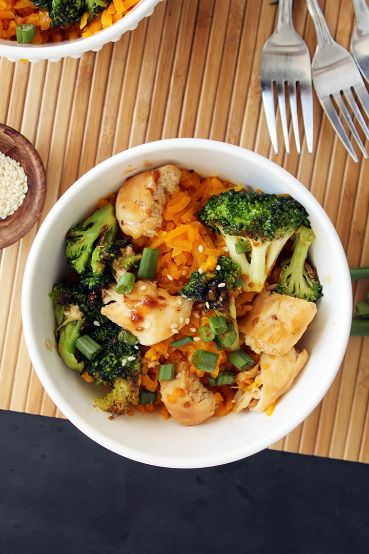 "Teriyaki Chicken and Broccoli with Butternut Squash ""Rice"""