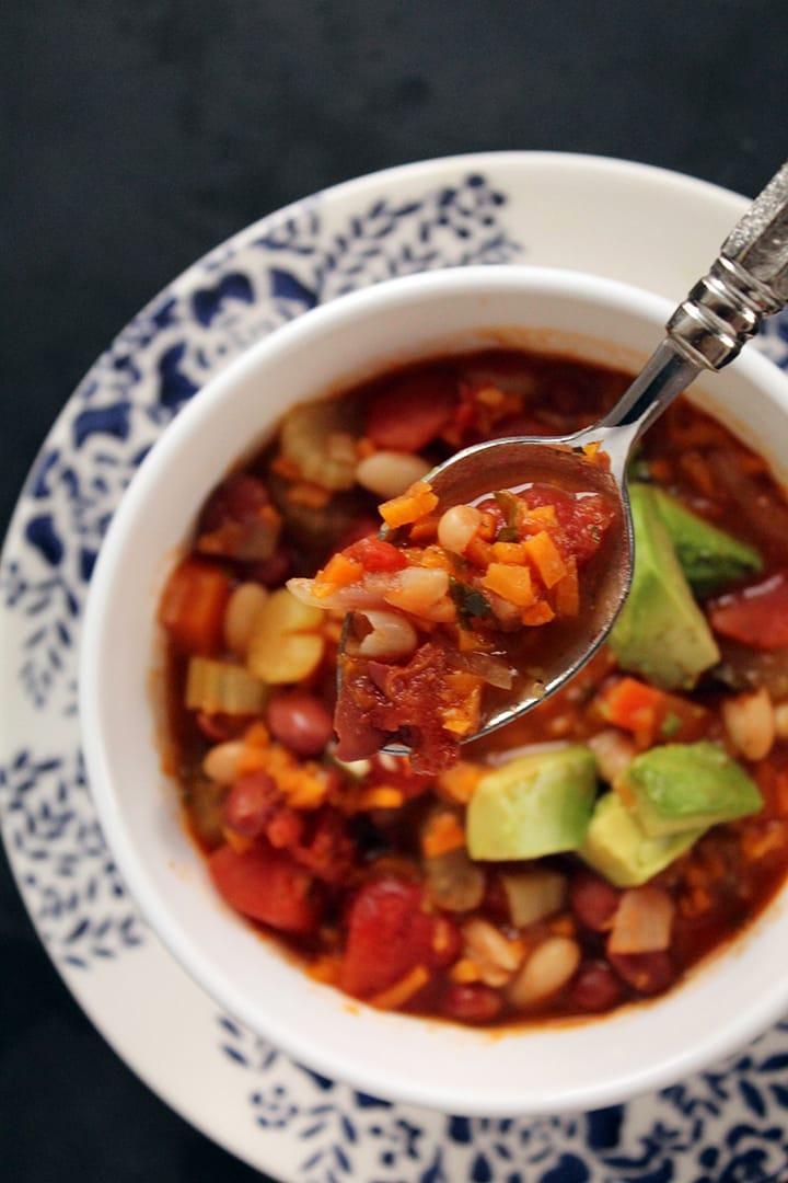 Vegetarian Sweet Potato Rice & Bean Chili