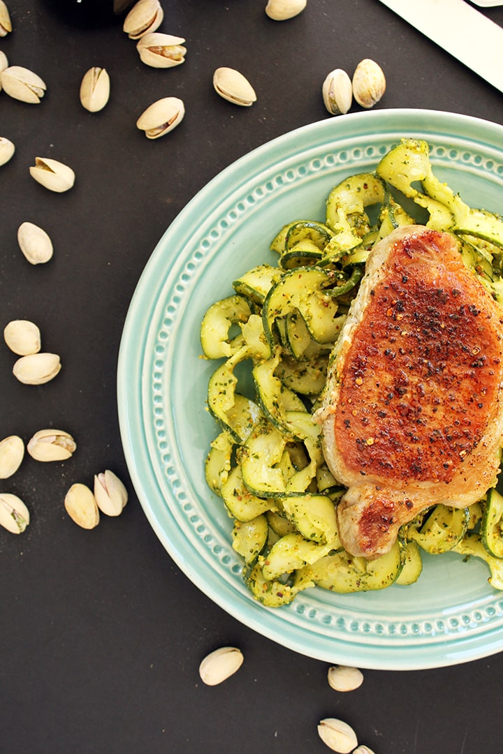Pistachio-Parsley Pesto Zucchini Pasta with Roasted Pork Chops