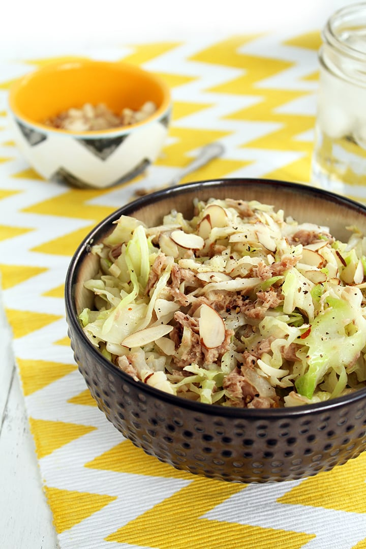 Spiralized Cabbage with Tuna & Almonds