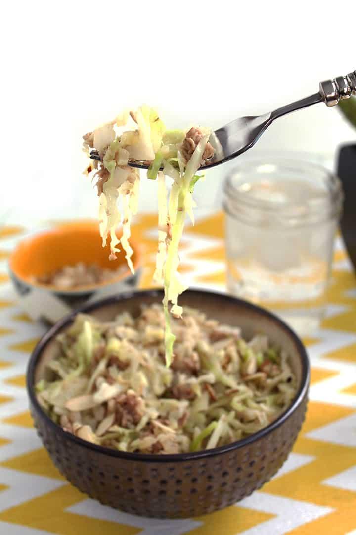 Spiralized Cabbage with Tuna & Almonds