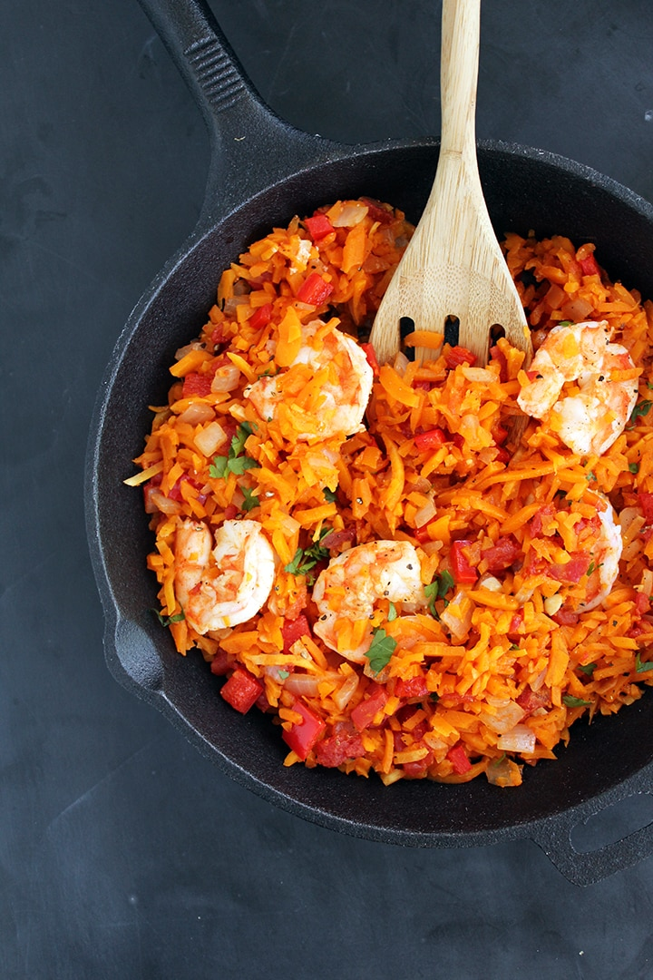 "Spicy Shrimp and Butternut Squash ""Rice"" with Tomatoes"