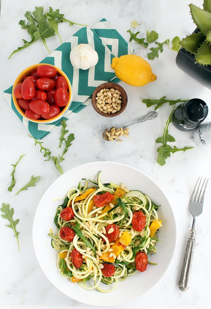 Roasted Pepper Zucchini Pasta with Balsamic Roasted Tomatoes, Baby Arugula and Toasted Pine Nuts