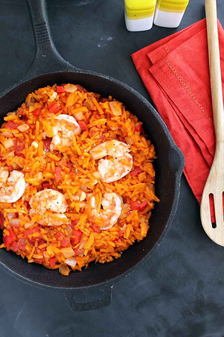 Spicy Tomato Butternut Squash Rice & Shrimp