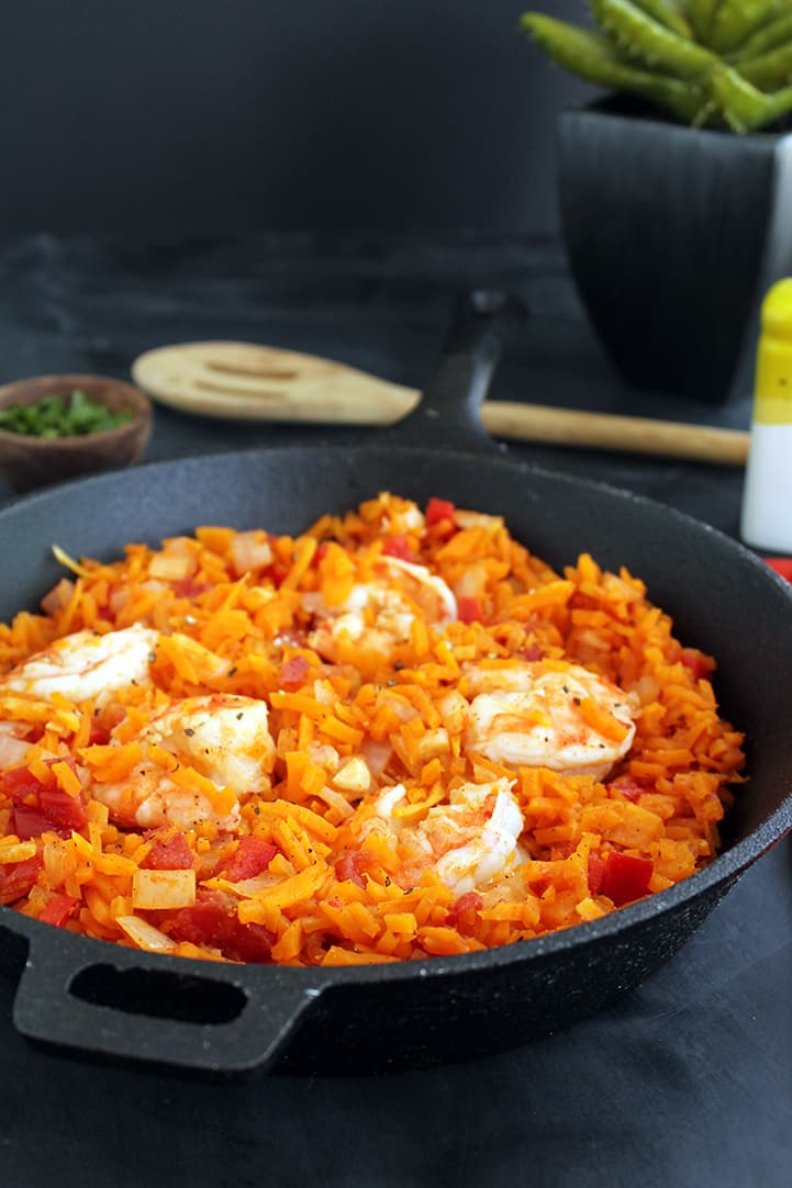 Spicy Tomato Butternut Squash Rice & Shrimp
