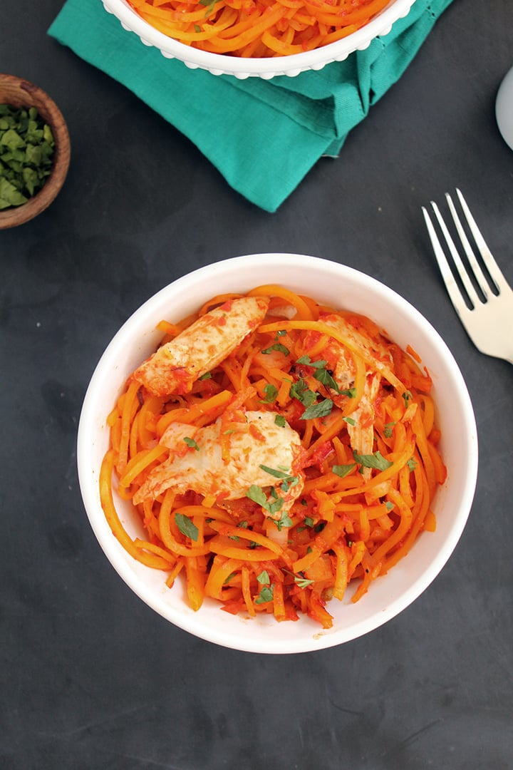 Roasted Red Pepper Butternut Squash Pasta with Chicken