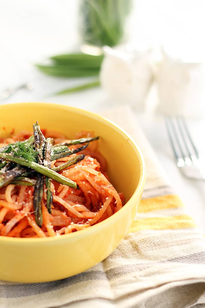 Winter Tomato-Fennel Turnip Noodles with Roasted Petit Green Beans