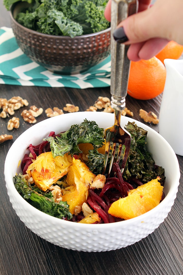 Roasted Orange & Beet Noodle Pasta with Honey Walnuts & Crispy Baked Kale