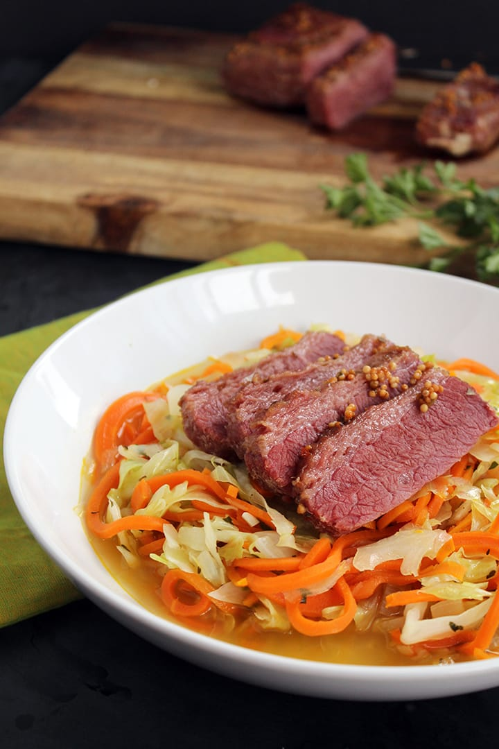 Corned Beef with Spiralized Carrots & Cabbage