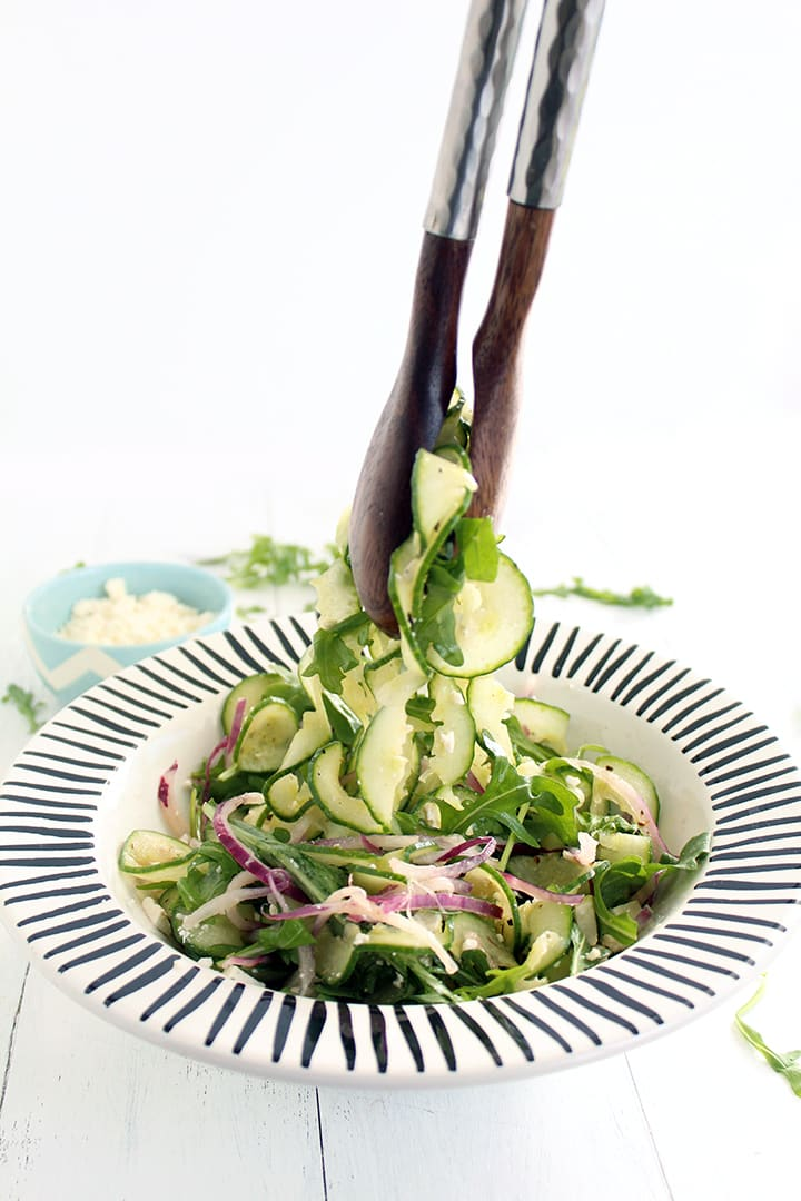 Cucumber Noodle, Feta, Arugula & Onion Salad with Red Wine Oregano Vinaigrette