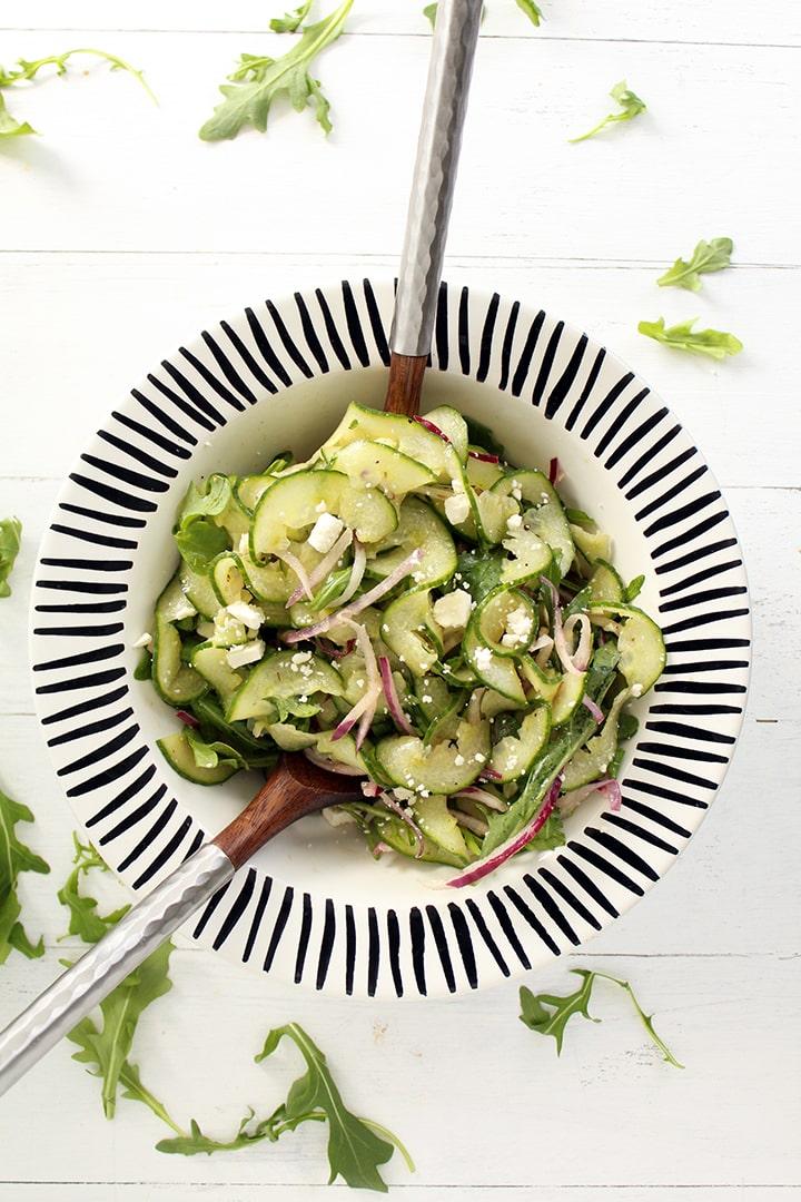 Cucumber Noodle, Feta, Arugula & Onion Salad with Red Wine Oregano Vinaigrette