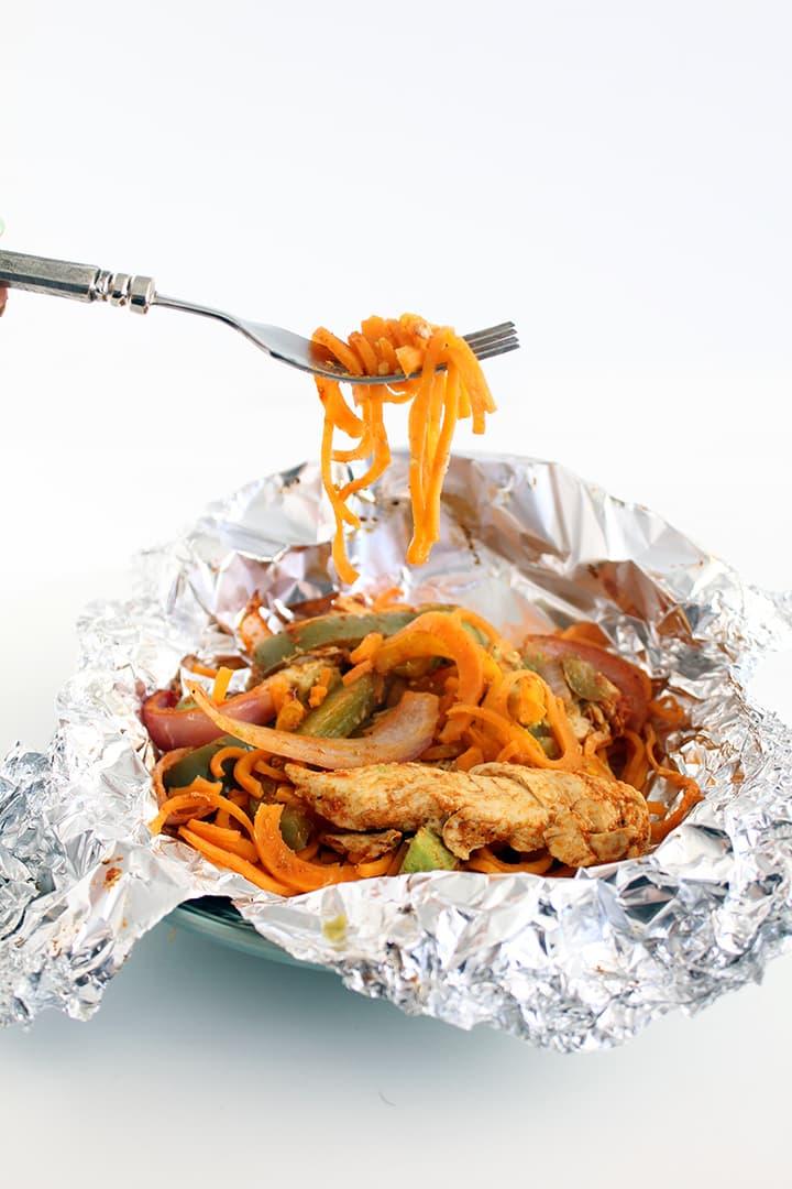 Foil-Pouch Sweet Potato Noodle Chicken Fajitas