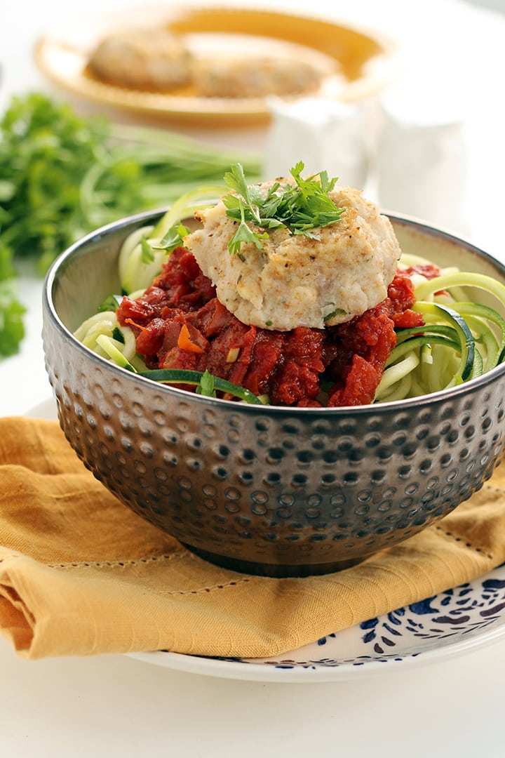 Cauliflower-Feta Meatballs with Spicy Moroccan Tomato Zucchini Noodles