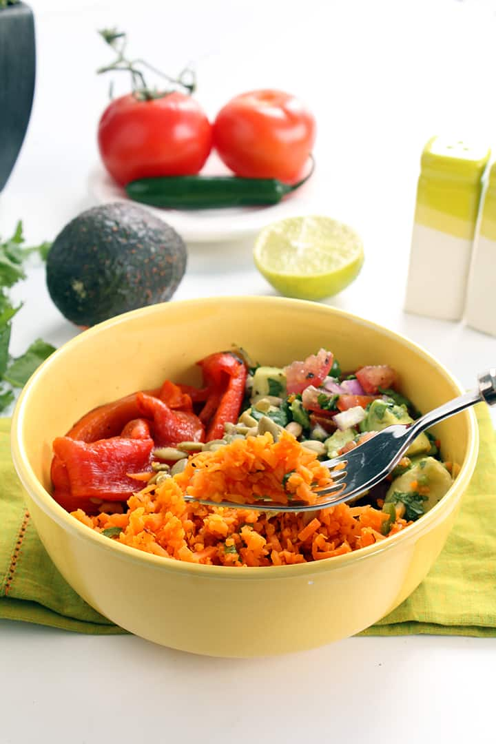Jalapeno Carrot Rice Salad with Charred Peppers, Pepitas & Avocado-Tomato Salsa
