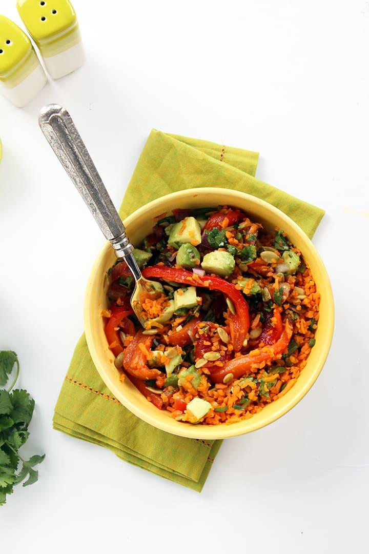 Jalapeno Carrot Rice Salad with Charred Peppers, Pepitas & Avocado-Tomato Salsa