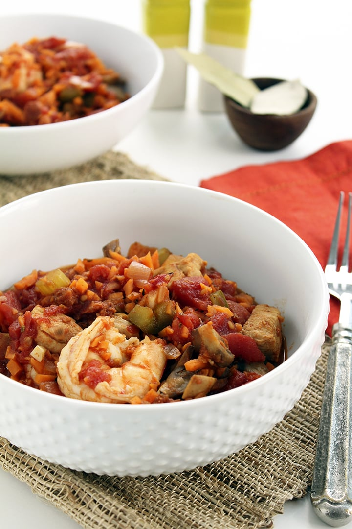 Spicy chorizo jambalaya with sweet potato rice recipe