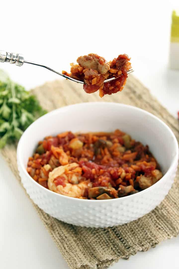 Spicy chorizo jambalaya with sweet potato rice recipe