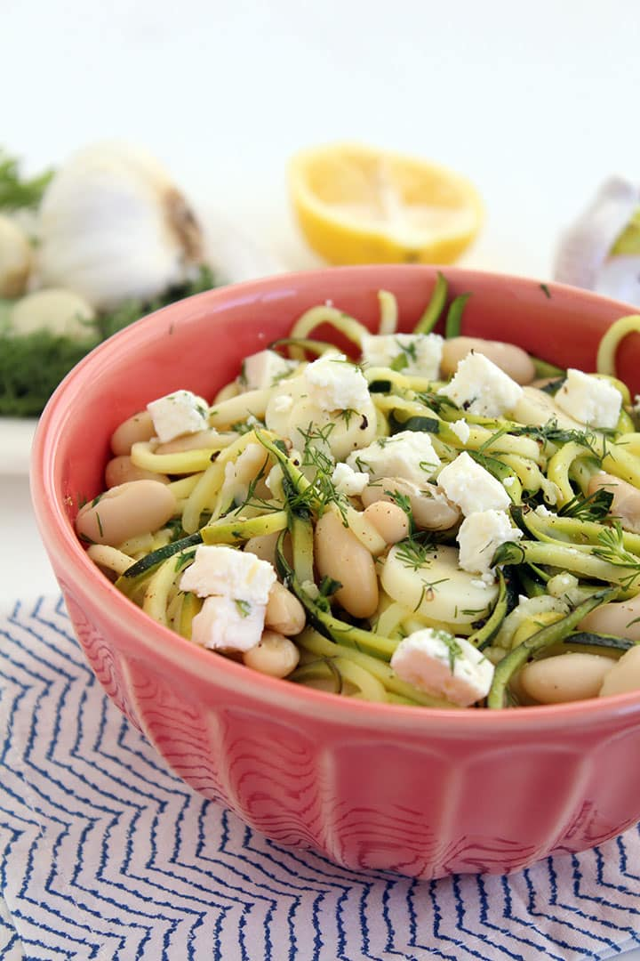 Dill-Zucchini Pasta with Cannellini Beans, Hearts of Palm and Feta
