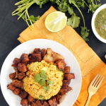 Carnitas and Avocado-Plantain Rice with Tomatillo Salsa Verde