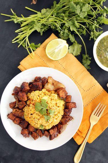 Carnitas and Avocado-Plantain Rice with Tomatillo Salsa Verde + 15% off @FluentCity!