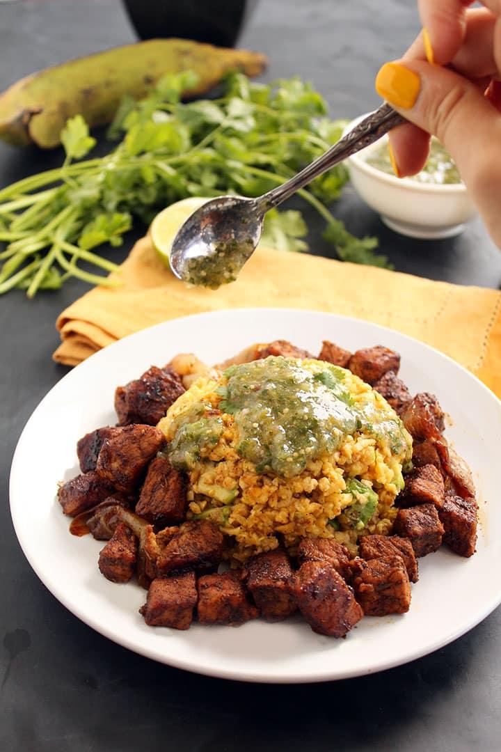 Carnitas and Avocado-Plantain Rice with Tomatillo Salsa Verde
