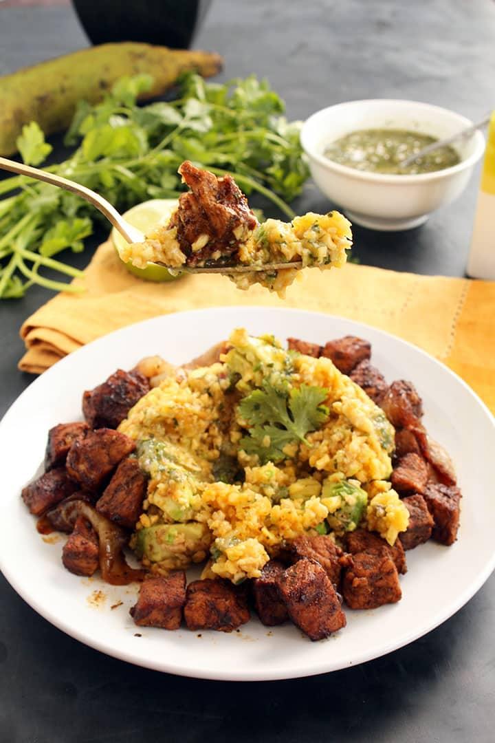Carnitas and Avocado-Plantain Rice with Tomatillo Salsa Verde + 15% ...