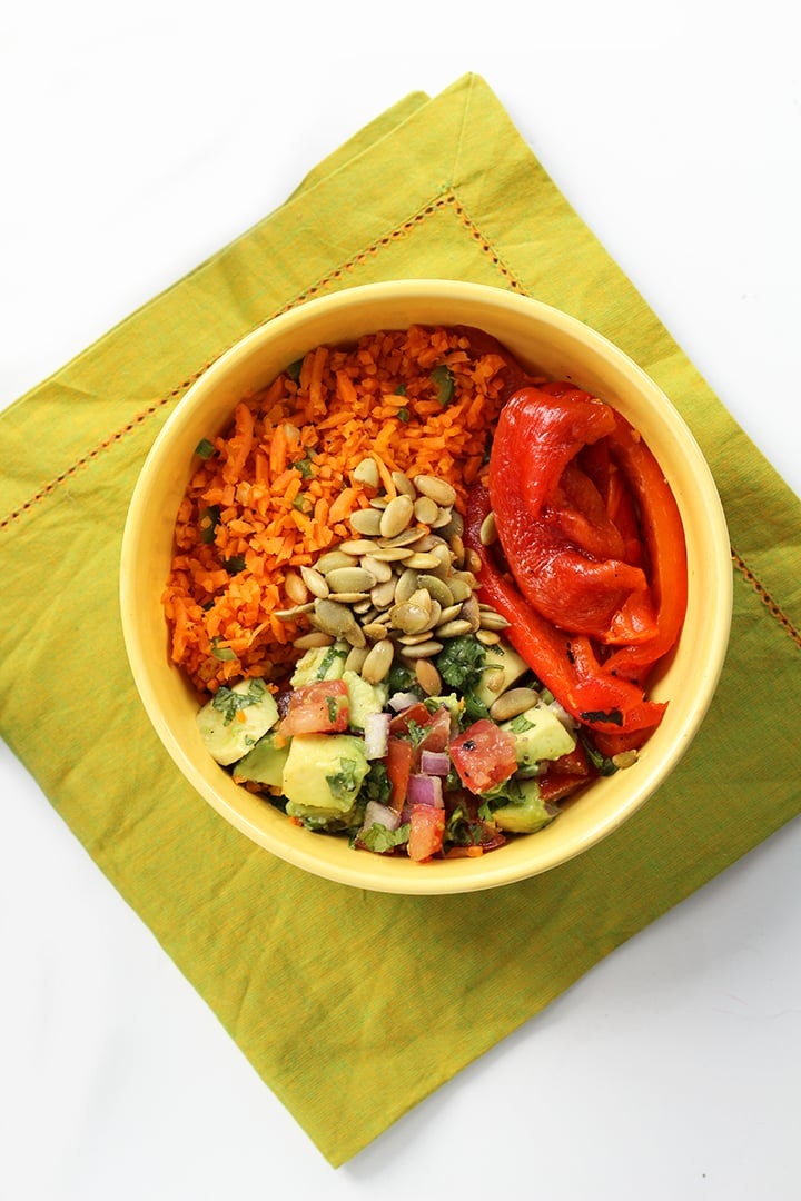 Jalapeno Carrot Rice with Charred Peppers, Pepitas and Avocado-Tomato Salsa