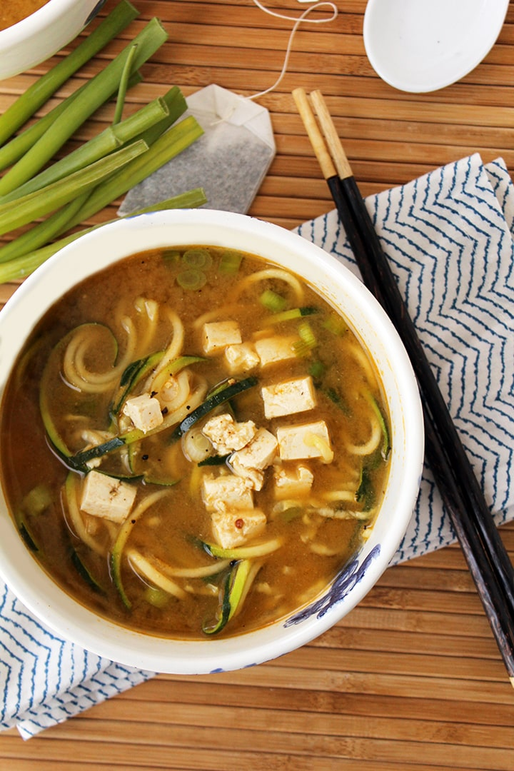 Miso Green Tea and Ginger Zucchini Noodles with Tofu