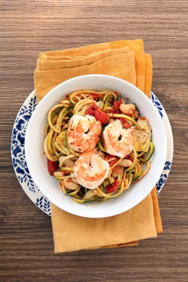Tomato Zucchini Noodles with Shrimp, Roasted Artichokes and Cannellini Beans & Big News for Inspiralized!