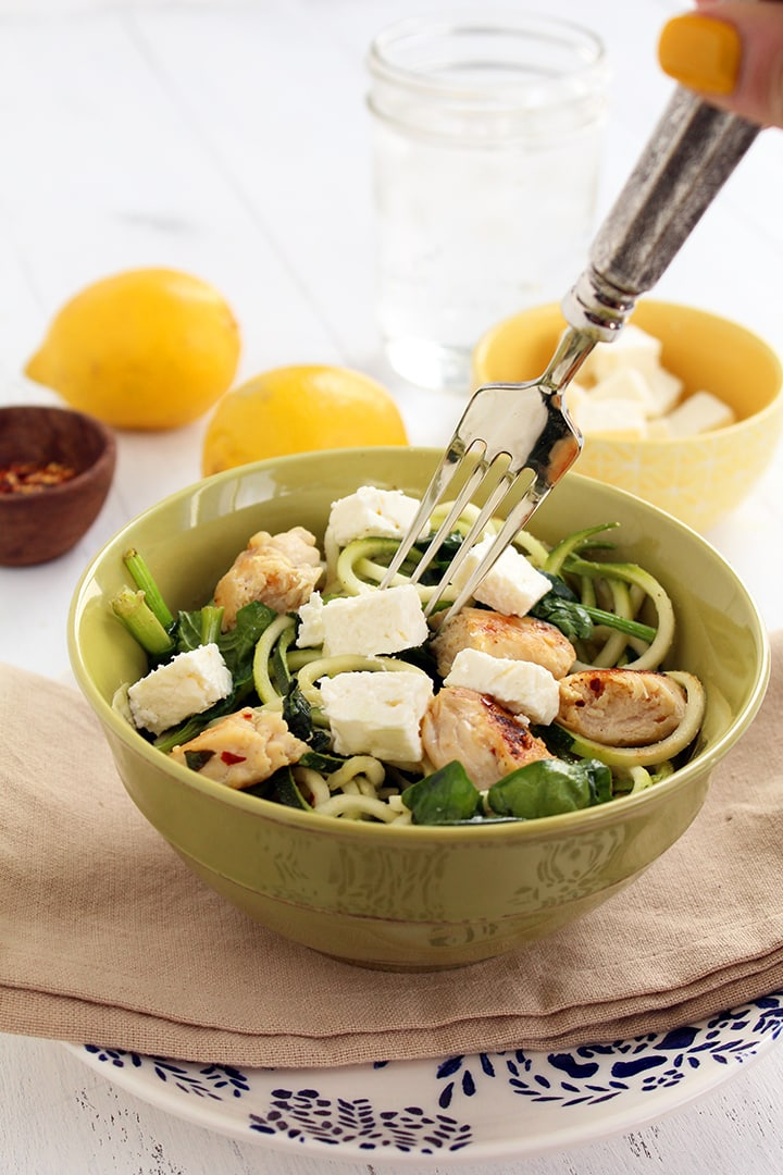 Zucchini Noodles with Feta, Spinach and Chicken