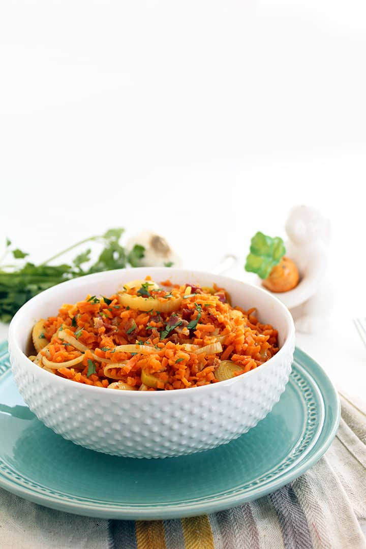 "Carrot ""Rice"" Leek Risotto with Bacon"