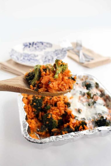 Pesto Broccoli Sweet Potato Rice Casserole – Two Ways!